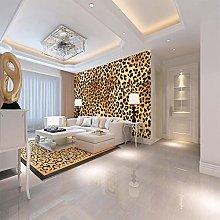 Non-Woven Wallpaper Leopard Art Print Fleece Wall