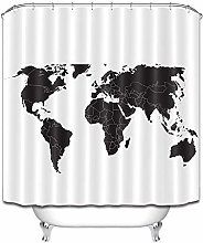 None brand Abstract Black World Map White Extra