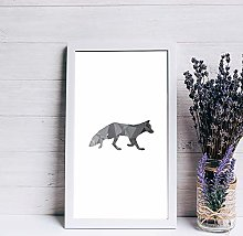 None Brand Framed wood sign Fox Print Geometric