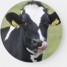 None Brand Funny Holstein cow wall clock