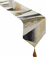 None brand Gemetric Table Runners with Tassels for
