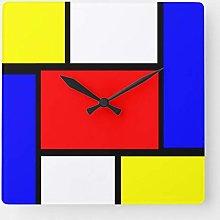 None Brand Mondrian Pattern Style Square Wall Clock