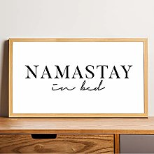 None Brand Namastay In Bed Print Rustic Wood Sign