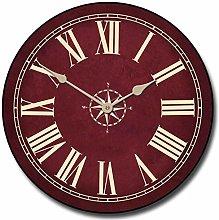 None Brand Nautical Burgundy Wall Clock Round Clock