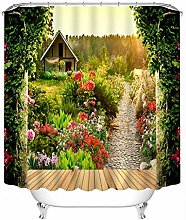 None brand Pastoral 3D Shower Curtains Flower