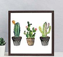 None Brand Watercolor cactus print wood sign,