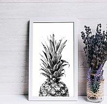 None Brand Wood sign Pineapple Print Wall art