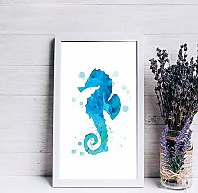 None Brand wood sign,Seahorse Watercolor Print