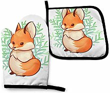 nonebrand Oven Mitt and Potholder, Cute Small Fox