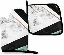 nonebrand Oven Mitt and Potholder, Marble Texture
