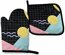 nonebrand Oven Mitt and Potholder, Memphis Pattern