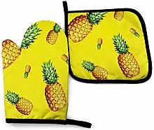 nonebrand Oven Mitt and Potholder, Pineapple