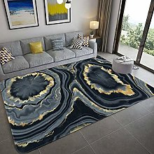 Nordic Black Gold Marble Luxury Carpets For Living