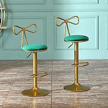 Nordic Dark Green Velvet Adjustable Bar Stools Set