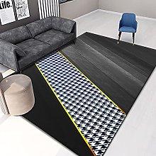 Nordic Geometric Personality Black Carpet Thick