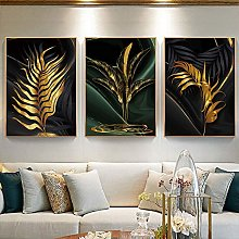 Nordic Modern Gold And Green Leaves Fashion Style