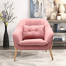 Nordic Pink Upholstered Scalloped Shell Armchair