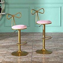 Nordic Pink Velvet Adjustable Bar Stools Set of 2