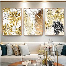 Nordic Plants Golden Leaf Canvas Paintings And
