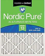 Nordic Pure 16x24x1 MERV 13 Pleated Plus Carbon AC