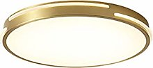 Nordic Style Brushed Brass Ceiling Light,LED Round
