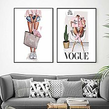 Nordic Wall Art Canvas Poster Vogue Print Fashion