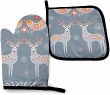Nordic Winter Oven Mitt Cooking Gloves and Pot