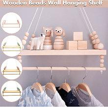 Nordic Wooden Beads Wall Hanging Shelf Rack Holder