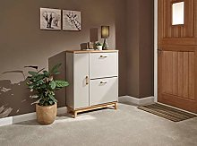 Nordica Grey or White, Oak Top & Handles, Solid