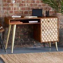 Nosid Wooden Laptop Desk In Dark Walnut With 1