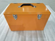 NOSTALGIC RETRO ORANGE METAL COOL OR TOOL BOX -