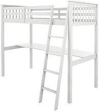 Novara High Sleeper with Desk - White, White
