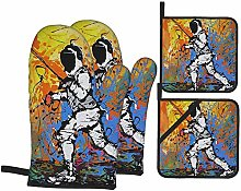 Novelty Fencing Graffiti Art Oven Mitts and Pot