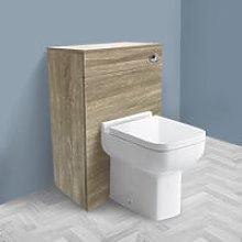 NRG - 500mm Grey Oak Effect Back To Wall Toilet