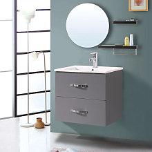 NRG - 600mm Grey Minimalist 2 Drawer Bathroom