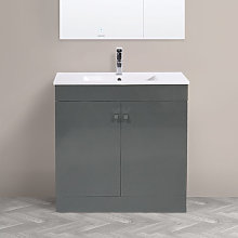 NRG - 800mm 2 Door Gloss Grey Wash Basin Cabinet