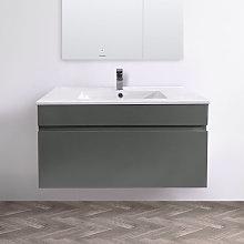 NRG - 800mm Grey Wall Hung Vanity Sink Unit