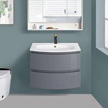 NRG - Gloss Grey Bathroom Curved Vanity Basin Unit