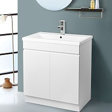NRG - Gloss White Bathroom Vanity Sink Unit Basin