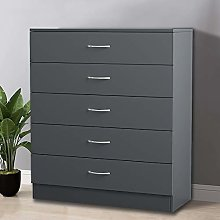 NRG Grey 5 Drawer Chest With Metal Handles Storage