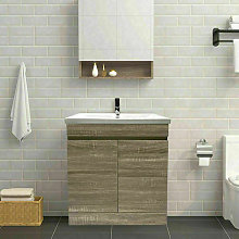 NRG - Grey Oak Bathroom Vanity Sink Unit Basin