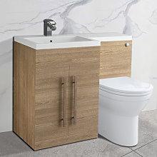 NRG Light Oak Left Hand Bathroom Cabinet Storage