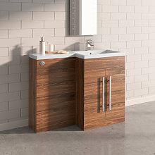 NRG - Walnut Right Hand Bathroom Furniture Wash