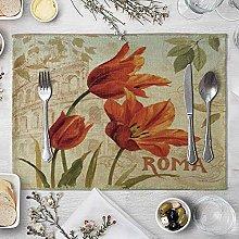 NTT Place Mats,Vintage Flowers Table Mat Cotton