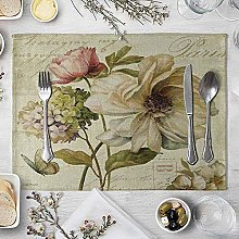 NTT Placemats Sets 6,Vintage Flowers Table Mat