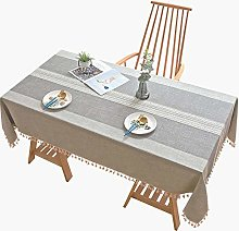 NTZTO Table Cloth Striped Embroidery Cotton And