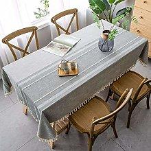 NTZTO Table Cloth Tablecloth Gray Tassel Dustproof