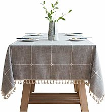 NTZTO Tablecloth Pure Cotton And Linen Checkered