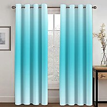 NuAnYI 3D Curtains For Bedroom - Blue Gradient Art