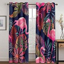 NuAnYI Blackout Curtains 2 Panels Flamingo Animal